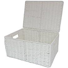 Arpan–Cuerda de papel cesta de almacenamiento Caja con tapa, color blanco, natural, large
