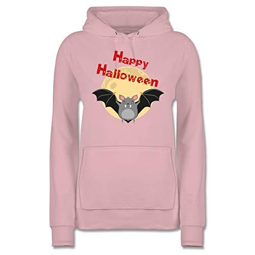 Shirtracer Halloween - Happy Halloween Fledermaus - L - Hellrosa - JH001F - Damen Hoodie
