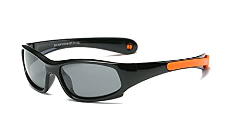 SojoS Kids Rubber Flexible Polarized Sunglasses for Baby Age 3-10 SK207 With Black Frame/Orange Strap
