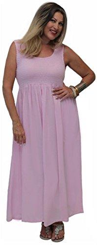 LOTUSTRADERS Damen Boho Gesmocktes Kleid Minzgrün