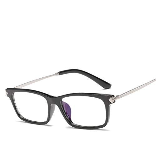 Mkulxina Unisex-Brillengestell Nicht verschreibungspflichtige Brillen Männer, Frauen (Color : Black+Sliver)