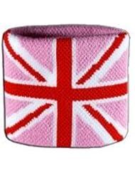 Digni® Poignet éponge avec drapeau Royaume-Uni Union Jack rose, pack de 2