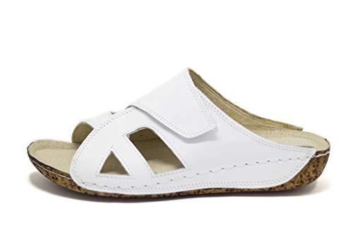 Ks® 400 - Damen Sandalen Pantoletten aus Leder für den Sommer Weiß 41 -