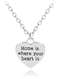 TBOP NECKLACE THE BEST OF PLANET Simple And Stylish Jewelry Home Is Where Your Heart Is Heart-shaped English Lettering...