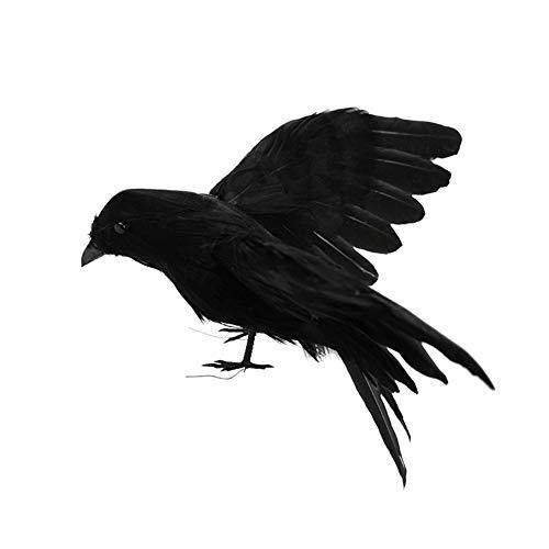 Delaman Gefiederte Krähen Realistisch aussehende Raven, Vögel schwarz gefiederten Krähen, Halloween Prop Dekor, gruselige Party Home Deko (Color : #3)