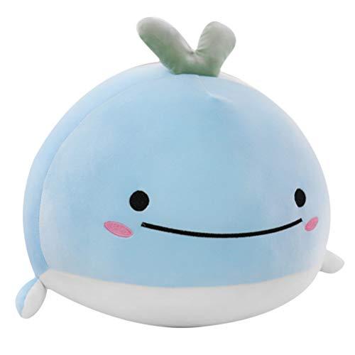 Creamon Walpuppe, Weichwalpuppe Kurzer Plüschwal Spielzeug Schöne Tiere Stofftier für Kinder blau