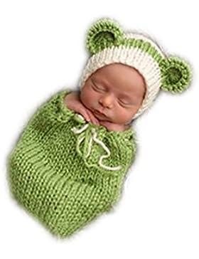 Fatto a mano Infant Newborn Baby Girl Boy Crochet Sacco a pelo cappello fotografia puntelli Verde Sacco a pelo...