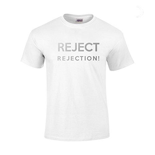Herren Ablehnen Ablehnung T-Shirt. Silber Grau Reflektierende Text. Motivation inspiriert von Winning Ziel orientierte Team Building Erfolg strebt Succeed fokussierte Ziel Hohe Think Big. Weiß - weiß