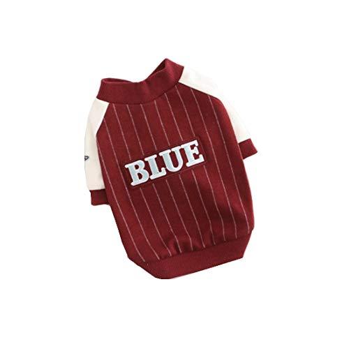 WYHP Welpen-Herbst und Wintermantel Dog Fashion Jumpsuit Haustier-Kleidung Hund Gestreiftes Baseball Kleidung Cotton Stretch-Schutz Kleidung (Color : Red, Size : XL)