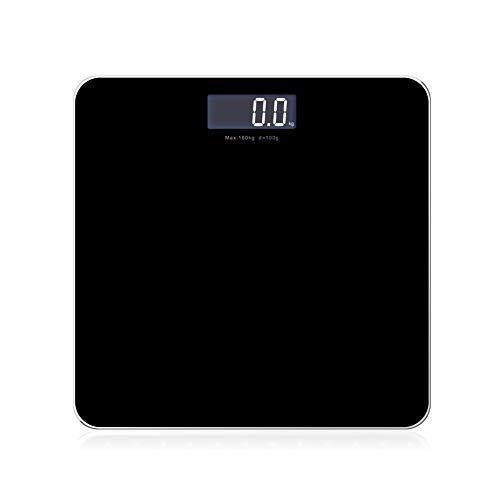 Elektronische Körperwaage für den Haushalt Gewichtsverlust Waage - Hochpräziser Drucksensor ABS-Schutzmaterial Anti-Rutsch-Matte LED-Anzeige - Hartglasmaske mit starkem Lager-black -