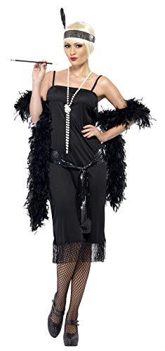 Smiffys, Damen Flapper Kostüm, Kleid, Gürtelschärpe und Stirnband, Größe: X1, 28605