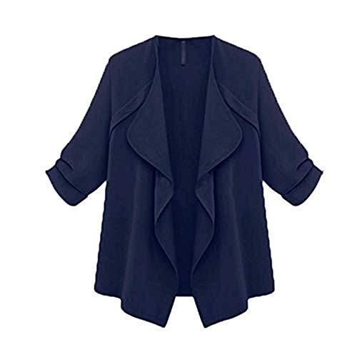 Cappotto donna primavera autunno moda vintage tinta classiche unita giacca manica lunga elegante per il tempo libero con cintura outwear collo a cascata collo tasca anteriore cardigan donne