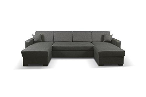 mb-moebel Ecksofa mit Schlaffunktion Eckcouch mit Bettkasten Sofa Couch Wohnladschaft U-Form Polsterecke Schwarz MAPO (Modernes Sofa Boss)