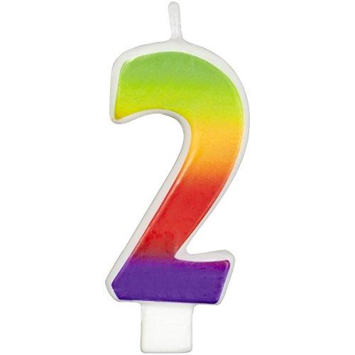 Rainbow Candle 1/Pkg-Numeral 2 -