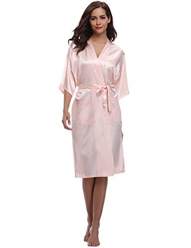 Aibrou Damen Satin Morgenmantel Kimono Lang Bademantel Schlafanzug Negligee Nachthemd Nachtwäsche Unterwäsche V Ausschnitt Mit Gürtel, Gr. M, Farbe: Rosa