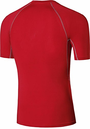 jeansian Uomo Jogging Bicicletta Fitness Maglietta Leotard Training Workout T-shirt Tight Sportswear SMF019 Red