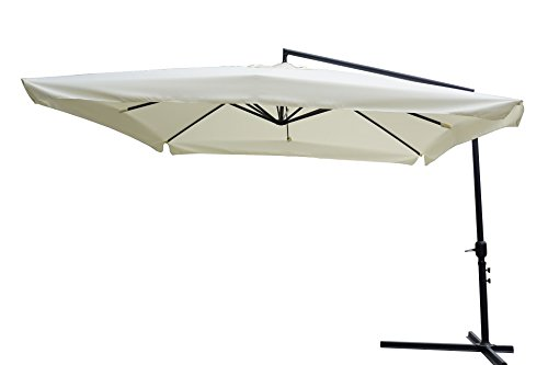 Ombrellone da giardino, 3x3 x 3h mt braccio laterale struttura in acciaio con manovella copertura in poliestere 180 gr/m² colore écru.