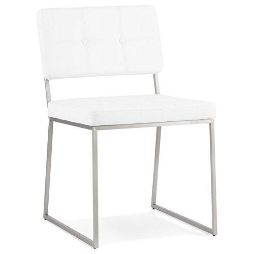 MK Chaise Design capitonnée Bouton en Simili Cuir (Blanc)