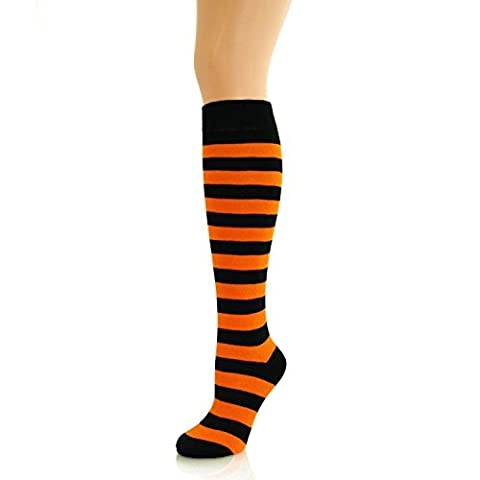 Ladies Knee High Thick Stripe Socks Orange