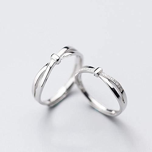 Diamant Kostüm Ring - Damen Ring 925 Sterling Silber Verstellbar,EIN Paar, Paar Ring Kreuz Geknotet Ring Ring, Glänzend Diamant Kostüm Mit Geburtstagsgeschenk Avantgarde Fashion Street Kultur