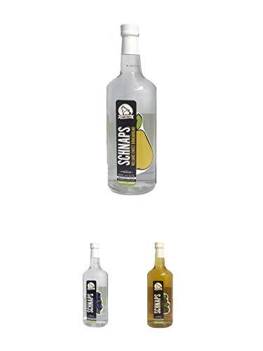 Schneejäger Premium Williams-Christ-Birne 38% 0,7 Liter + Schneejäger Premium Schlehengeist 38% 0,7 Liter + Schneejäger Premium Nuss Spirituose 35% 0,7 Liter