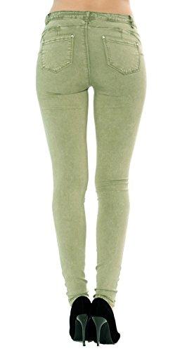 Damen slim und straight Jeans denim blau hose 34 bis 42 Skinny grün