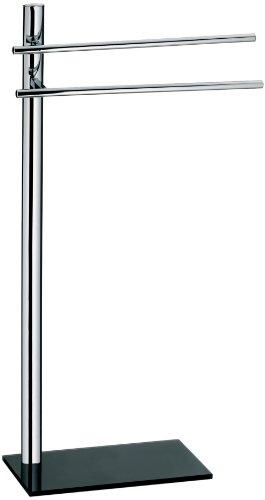Kela 21527 porte-serviettes, métal chromé et verre noir, hauteur 87 cm, 'Lunis'