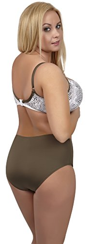 Merry Style Damen Bikini Oberteil Plus Size B15 STONE Weiß/Khaki