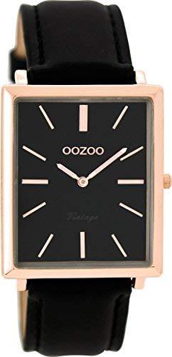 Oozoo Vintage Damenuhr Flach Eckig Lederband 31 MM Rose/Schwarz/Schwarz C8189
