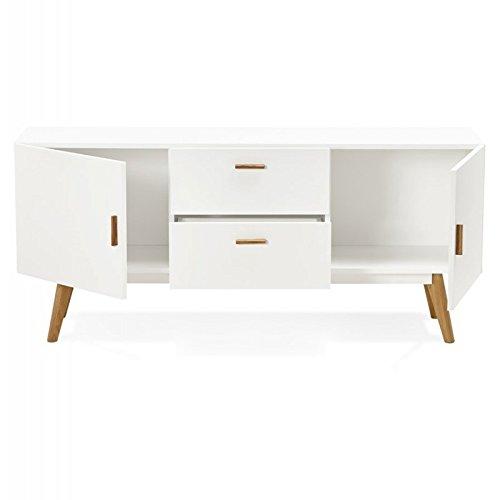 Paris Prix - Bahut Design Bois kokola 160cm Blanc
