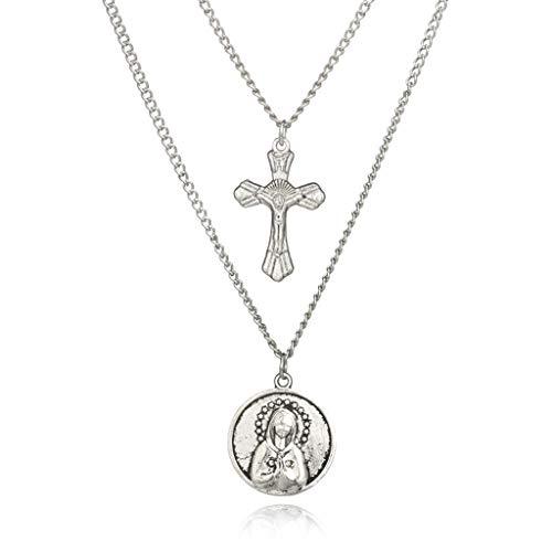 VIccoo Collar de múltiples Capas de la Virgen María Colgante Jesucristo Cruz Joyería de Moda - Plata