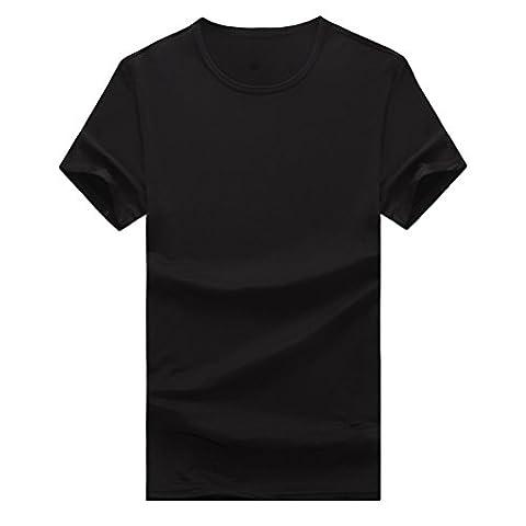 Zhhlinyuan Dessus Mens Summer Solid Short Sleeve Crew Neck T-Shirt Soft Comfort Plus Size