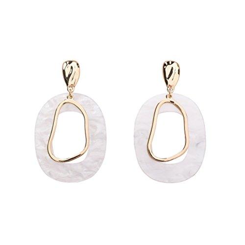 Resin Dangle Earrings Drop Geometry Design Earrings Shell Shaped Romantic Alloy Jewelry