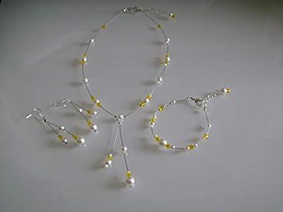 Parure bijoux Collier bracelet boucles d'oreille Jaune/Blanc/Ivoire Mariée/Mariage/Soirée/Cérémonie/Coktail (p robe) perles (pas cher)