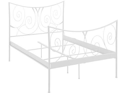 Loft24 Rose Metallbett 90x200 cm weiß Einzelbett Bettgestell Jugendbett Kinderbett Gästebett Metall in weiteren Farben und Größen erhältlich - Antik Weiß Metall Bett