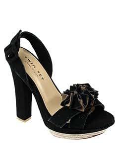 TWIN-SET SIMONA BARBIERI Chaussures NOIR Sandales/Nu pieds FEMME