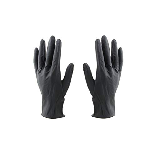 Lurrose 10 Stücke Friseursalon Wiederverwendbare Handschuhe Labor Latex Handschuhe Haarfarbe Farbstoff Handschuhe Mittlerer Größe (Schwarz)