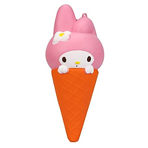 Rcool Creative Cute Stress Reliever Squishy Squeeze Rabbit Ice Cream Cones Colossal Slow Rising Fun Soft Toy Cellphone Key Chain Charm Pendant Strap Kid Gift