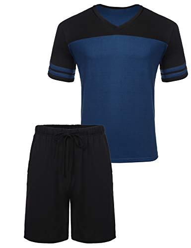 Pyjama Herren Kurz Schlafanzug Shorty V-Ausschnitt Zweiteiliger Freizeit Schlafanzughose Nachtwäsche Set für Sommer Blau L