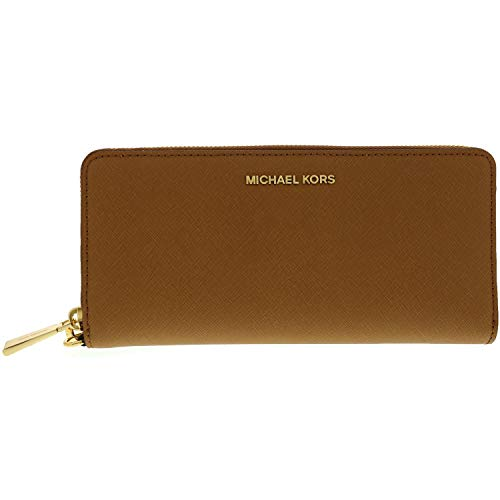 Michael Kors Women's Jet Set Travel Leather Continental Wallet Wristlet - Acorn/Gold