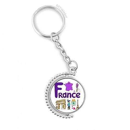DIYthinker Frankreich nationalen Symbol Zeichen Muster Drehbare Schlüsselanhänger Ringe 1.2 Zoll x 3.5 Zoll Mehrfarbig