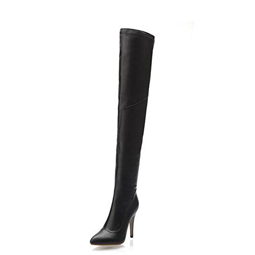 Heels Womens Stiefel (Qxw Reißverschluss wies High Heel feine Ferse des elastischen Frauen Stiefel,Schwarz,45)