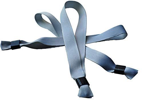 20 Festivalbänder aus Stoff 15 x 350 mm - silbergrau - warm grey