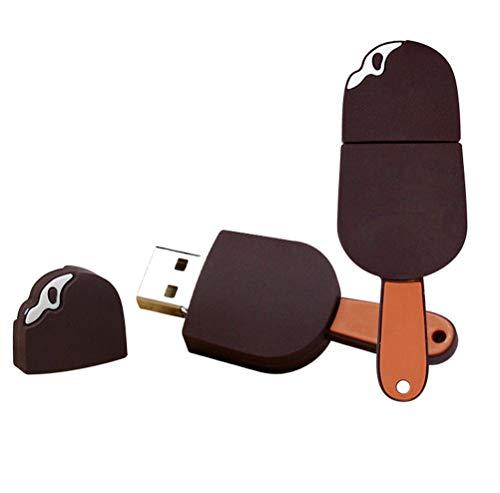 Demarkt USB Stick 2/4/8/16/32 GB, Eiscreme Schokoladeneis Schoko EIS am Stiel 2.0 Flash Speicherstick Memory Speicher Speiseeis Muster (Khaki 8 GB)