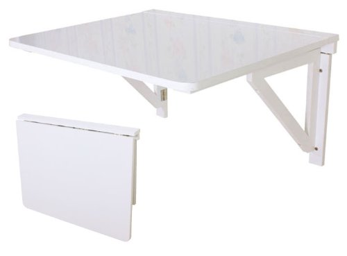 FWT05-W Folding Wooden Kitchen Table for Wall 75 x 60 cm White