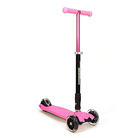 3Style Scooters® RGS-2 Tilt Kick board Mini T-Bar 3 Wheel Kick Scooter Board for Boys / Girls / Children / Kids / Adults With Spin & Flash LED Wheels Perfect Unique Present Xmas Christmas Gift - Free Upgrade to Expedited Shipping (Pink)