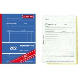 5 x Herlitz Formularbuch Lieferschein A6 202 2x40 Blatt selbstdurchschreibend