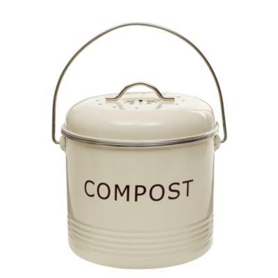 Komposteimer, cremefarben, mit Aktivkohlefilter, Deckel und Tragegriff, 3,5 L