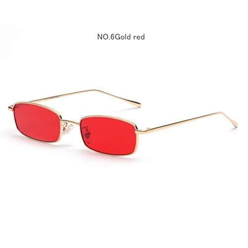 YOGER Sonnenbrillen Metall Sonnenbrille Frauen Männer Vintage Rechteck Sonnenbrille Retro Weibliche Rot Gelb Objektiv Brille Kleinen Rahmen Brille