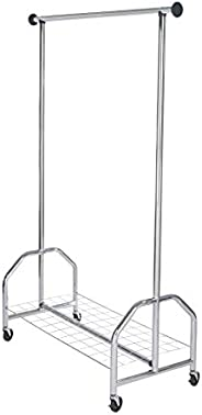 WENKO Clothes stand Profi - with wheels, up to 100 kg, Chrome plated metal, 121 x 185 x 52 cm, Chrome